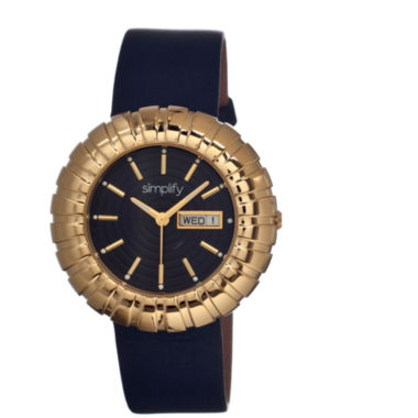 jcpenney.com | Simplify Womens The 2100 Gold With Black Leather-Band Watch With Day&Date Sim2104