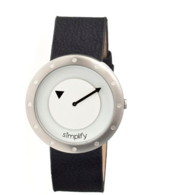 jcpenney.com | Simplify Unisex The 2200 White Dial Black Leather-Band Watch SIM2201