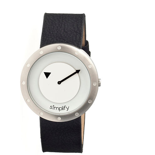 Simplify Unisex The 2200 White Dial Black Leather-Band Watch SIM2201