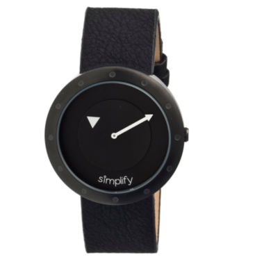 jcpenney.com | Simplify Unisex The 2200 Black Leather-Band Watch SIM2206