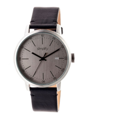 jcpenney.com | Simplify Mens The 2500 Gunmetal Dial Leather-Band Watch with Date SIM2501