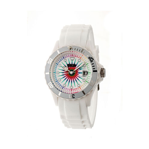 Crayo Unisex Shrine White Silicone-Band Watch with Date