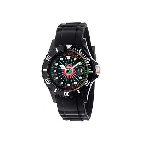 Crayo Unisex Shrine Black Silicone-Band Watch with Date