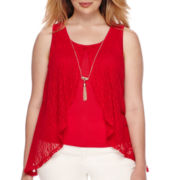 by&by Sleeveless Split-Front Knit-to-Woven Top with Necklace