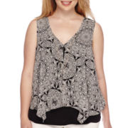 by&by Sleeveless Knit-to-Woven Top with Necklace - Juniors Plus