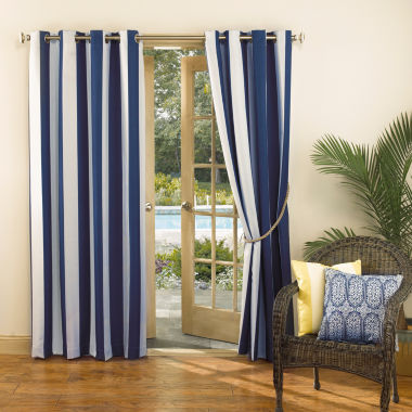 jcpenney.com | Sun Zero™ Leeward Indoor/Outdoor Woven Stripe Grommet-Top Curtain Panel