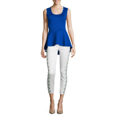 jcpenney.com | Bisou Bisou® Sleeveless Cross-Back Peplum Top or Embroidered Leggings
