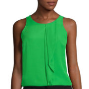 Worthington® Sleeveless Ruffle-Front Blouse