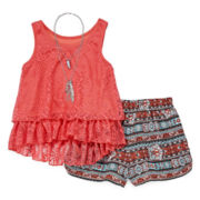 Knit Works® Crochet Tank, Necklace and Short Set- Girls 7-16