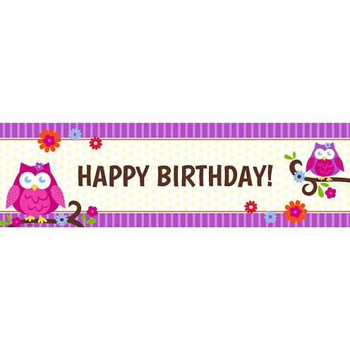 Owl Blossom Birthday Banner