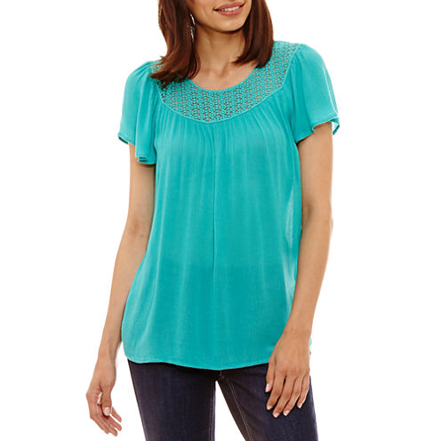 St. John's Bay Short Sleeve Scoop Neck Woven Blouse-Petites