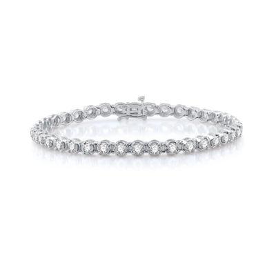 T W Genuine White Diamond 10k Gold Tennis Bracelet