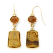 Liz Claiborne® Brown Stone Gold-Tone Double-Drop Earrings