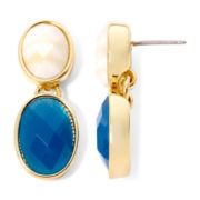 Liz Claiborne® Blue and White Stone Gold-Tone Double-Drop Earrings