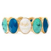 Liz Claiborne® Multicolor Stone Gold-Tone Oval Link Stretch Bracelet