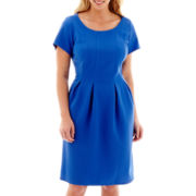 Danny & Nicole® Short-Sleeve Textured Knit Fit-and-Flare Dress - Plus