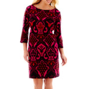Danny & Nicole® 3/4-Sleeve Print Sheath Dress - Plus