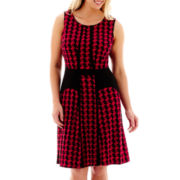 Danny & Nicole® Sleeveless Houndstooth Fit-and-Flare Dress - Plus