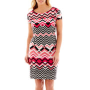 R&K Originals® Cap-Sleeve Chevron Print Shift Dress - Plus