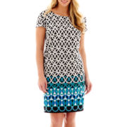 R&K Originals Cap-Sleeve Geo Print Sheath Dress - Plus