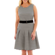 Danny & Nicole® Sleeveless Belted Striped Fit-and-Flare Dress - Plus