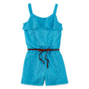 Speechless® Belted Crochet Romper - Girls 7-16