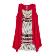 Knit Works Dress, Shrug and Necklace - Girls 7-16