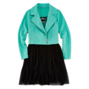 Knit Works Moto Jacket, Dress and Necklace - Girls 7-16