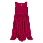 Total Girl® Cat-Print Ruffle-Hem Dress - Girls 7-16 and Plus