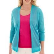Worthington® 3/4-Sleeve Open-Stitch Cardigan Sweater - Plus