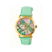 Bertha Womens Jennifer Mother-Of-Pearl Mint Leather-Band Watchbthbr5003