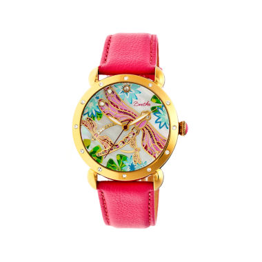 jcpenney.com | Bertha Womens Jennifer Mother-Of-Pearl Hot Pink Leather-Band Watchbthbr5004