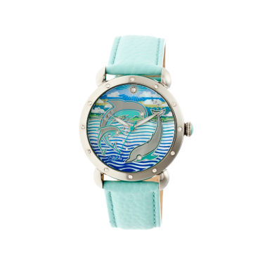 jcpenney.com | Bertha Womens Estella Mother-Of-Pearl Turquoise Leather-Band Watchbthbr5101