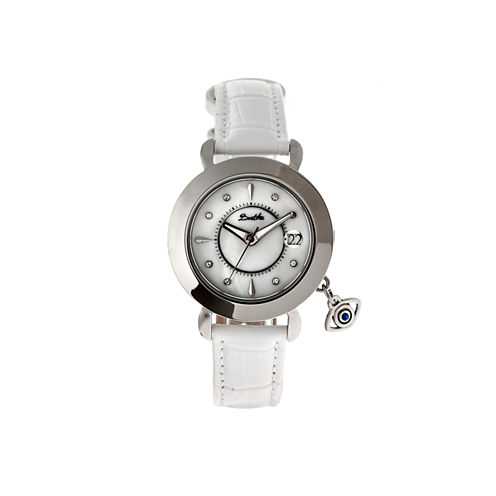 Bertha Womens Iris Mother-Of-Pearl White Leather-Band Watch With Datebthbr5301