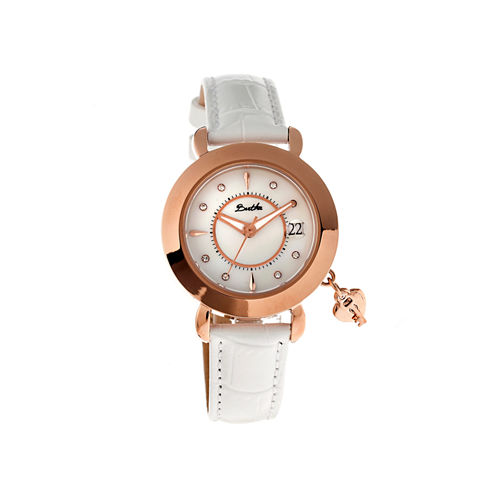 Bertha Womens Kaylee Mother-Of-Pearl White Leather-Band Watch With Datebthbr5404