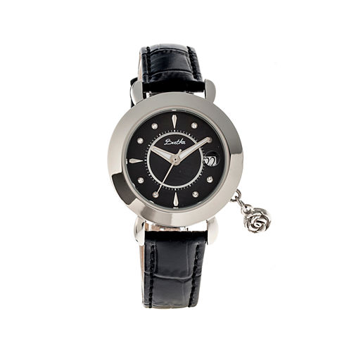 Bertha Womens Rose Mother-Of-Pearl Black Leather-Band Watch With Datebthbr5502