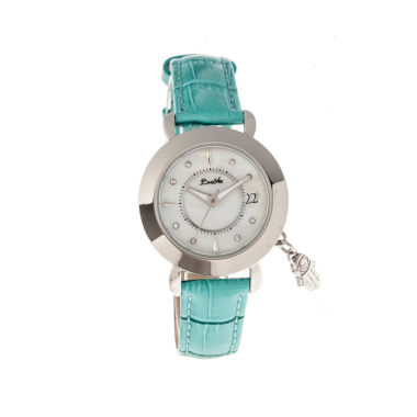 jcpenney.com | Bertha Womens Hannah Mother-Of-Pearl Turquoise Leather-Band Watch With Datebthbr5601