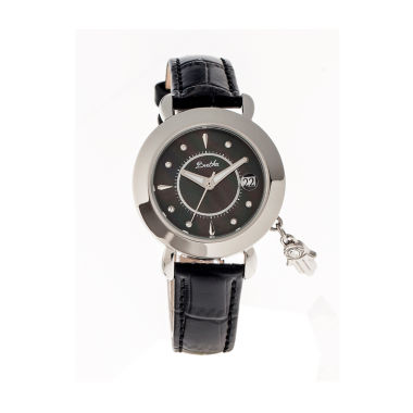 jcpenney.com | Bertha Womens Hannah Mother-Of-Pearl Black Leather-Band Watch With Datebthbr5602