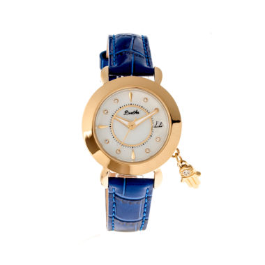 jcpenney.com | Bertha Womens Hannah Mother-Of-Pearl Blue Leather-Band Watch With Datebthbr5604