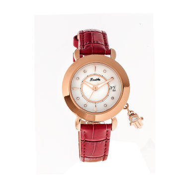 jcpenney.com | Bertha Womens Hannah Mother-Of-Pearl Red Leather-Band Watch With Datebthbr5605