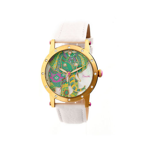 Bertha Womens Betsy Mother-Of-Pearl White Leather-Band Watchbthbr5703