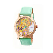 Bertha Womens Betsy Mother-Of-Pearl Mint Leather-Band Watchbthbr5704