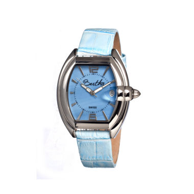 jcpenney.com | Bertha Womens Chloe Mother-Of-Pearl Powder Blue Leather-Band Swiss Watchbthbr3404