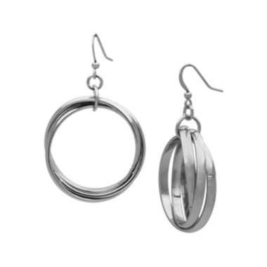 jcpenney.com | The Boutique Silver-Tone Criss-Cross Hoop Earrings