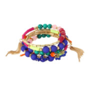 Bleu™ Coil Bright Bead Gold-Tone Bracelet