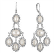 Vieste Rosa Crystal and Pearl Chandelier Earrings