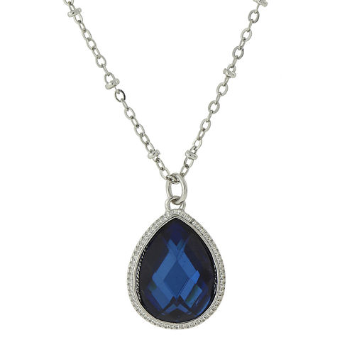 1928® Jewelry Blue Stone and Silver-Tone Pendant Necklace