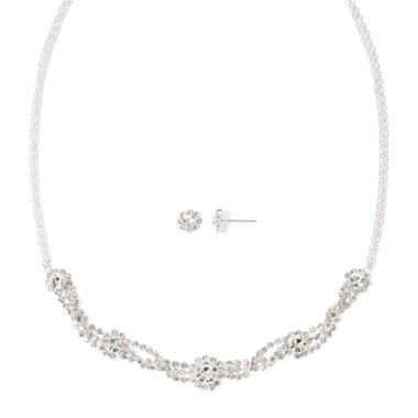 jcpenney.com | Vieste® Rhinestone Flower Necklace & Earring Set
