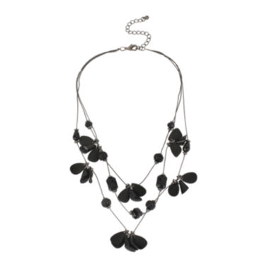 jcpenney.com | Mixit™ Jet 3Row Illusion Flower Necklace