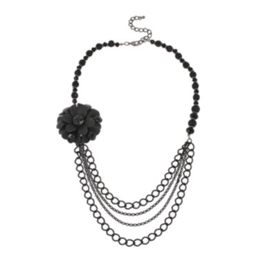 jcpenney.com | Mixit™ Jet Length Chain Flower Necklace
